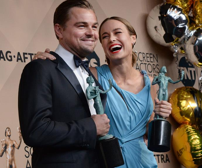 """Smile, we're probably going to win the Oscar next month!"" Taking out the Best Actor and Actress award for the night was Leo and Brie Larson... always a good indicator for who'll snag the Academy Award!"