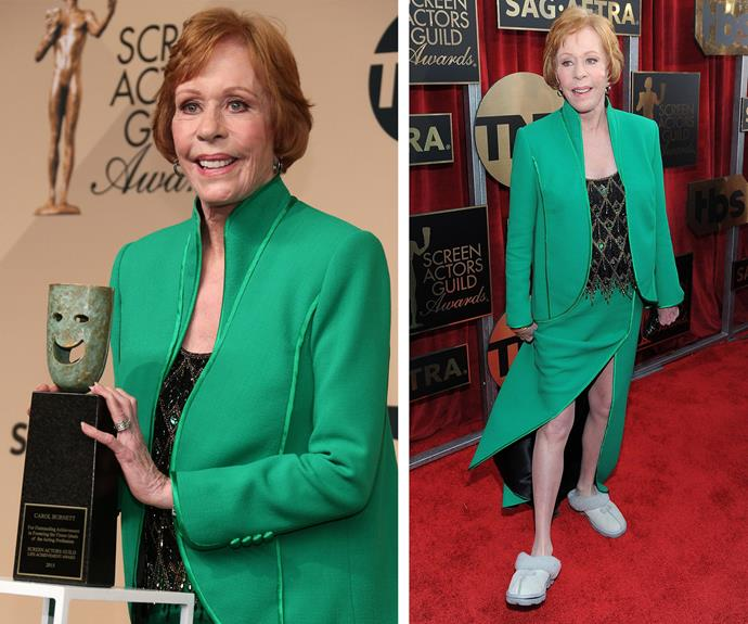 Carol Burnett slips into the award season with the night's comfiest pair of shoes! The 82-year-old was was the recipient of the 2016 Life Achievement Award.