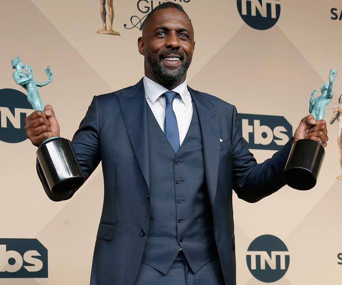 Making history, Idris Elba is the first actor to win two awards at the SAGs! The British hottie snagged the prize for his roles in the film *Beasts of No Nation* and the TV series *Luther*.
