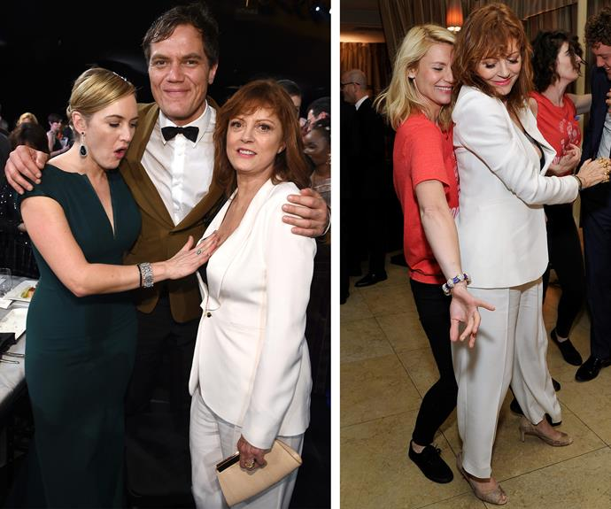 Of course Kate Winslet does what we're all thinking, while Claire Danes gets up close and personal with the hot mama.