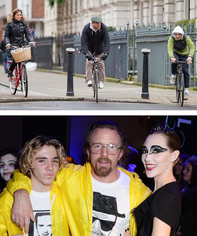 Rocco loves being with his dad. The newlyweds and the teen were spotted bike riding around London.