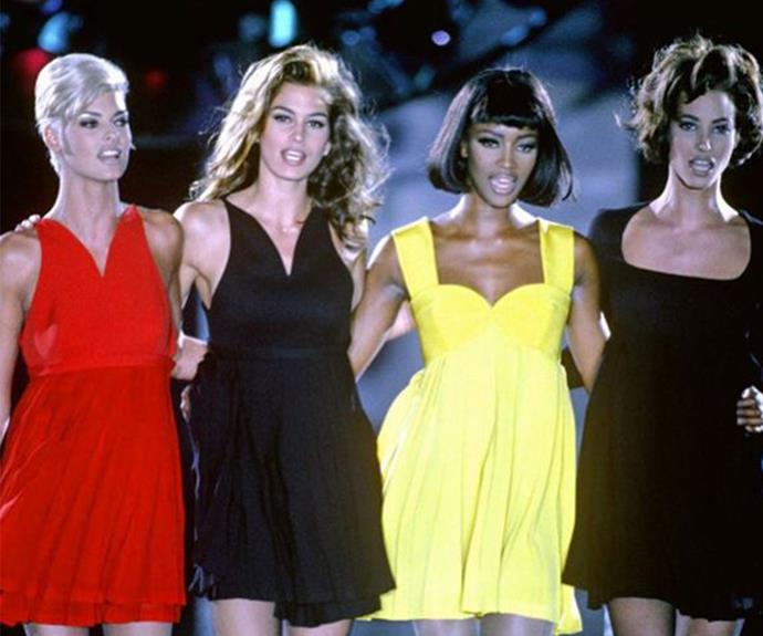 "The original and the best! It doesn't get much better than Linda Evangelista, Cindy Crawford, Naomi Campbell and Christy Turlington singing George Michael's *Freedom* when they glided down the Versace in 1991. ""Things could never be the same. I think it was the time when the whole notion of The Supermodel became utterly inescapable and irresistible,"" style.com Editor at Large Tim Blanks explained of the powerful runway memory. (Image/Cindy Crawford Instagram)"