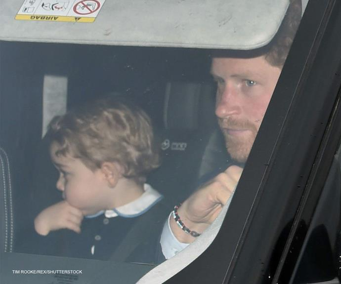 Prince Georgie and Uncle Harry on their way to the royally good Christmas festivities.