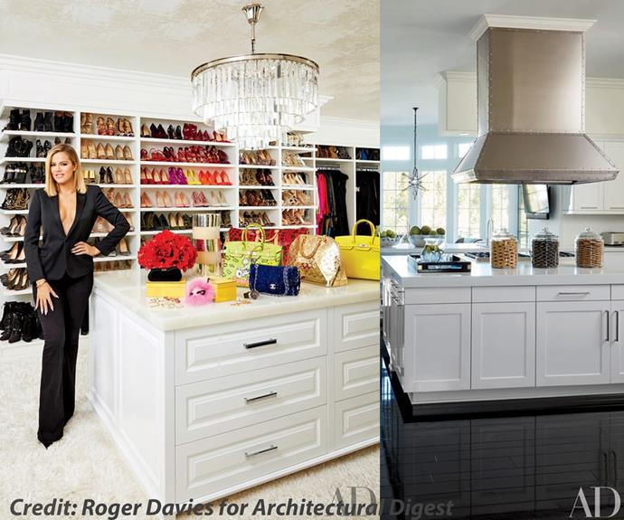 "Khloe gave us a sneak peek into her enviable closet (look at the colour coordinated shoes!) and her sleek kitchen. ""Our tastes are very specific and completely different. When we go furniture shopping, I stand there tapping my foot while Kourtney shows me modern pieces. Then we head somewhere full of exotic, beautiful things and all she can say is, 'I like nothing here,"" the 31-year-old said about her older sister."