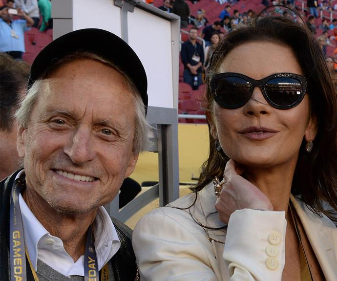 Michael Douglas and [Catherine Zeta-Jones were pumped for the match.](http://www.womansday.com.au/style-beauty/red-carpet/catherine-zeta-jones-near-flash-at-dads-army-premiere-14570)
