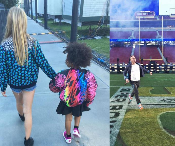 Apple Martin and Blue Ivy hold hands backstage, while Apple's dad Chris runs amok on the field ahead of Coldplay's big set.