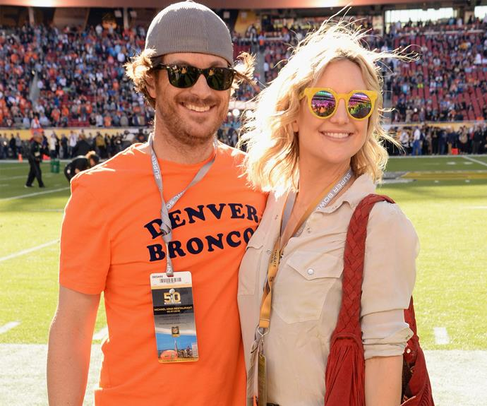 Kate Hudson and her brother Oliver Hudson are barracking for the Denver Broncos.