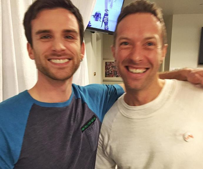 The Coldplay lads are just a tad excited! Chris and Guy are beaming from ear-to-ear.