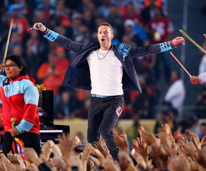 Half-time headliner Coldplay got the crowds going with a performance of their hit 'Viva La Vida'.