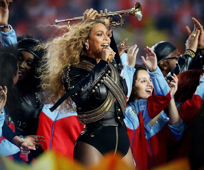 Bow down! Beyonce's first live performance of her surprise new single *Formation* was, as usual, fierce and flawless. The mother-of-one also announced her upcoming 2016 Formation World Tour, which will kick off in April and travel to 40 venues.