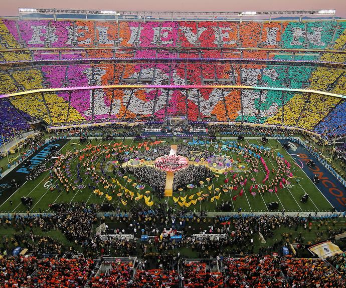 "At the end of the half-time show, the stadium was lit up with the moving message ""Believe in love."""
