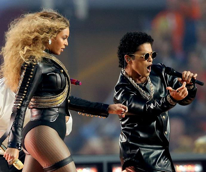 What a mash-up! Beyonce and Bruno Mars belt it out.