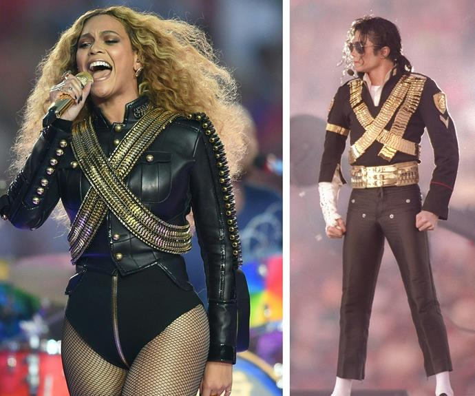 It seemed Queen Bey was channelling the one and only Michael Jackson! In 1993, the King of Pop wore a similar gold jacket.