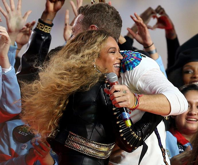 Aww, Bey and Chris share a warm embrace.