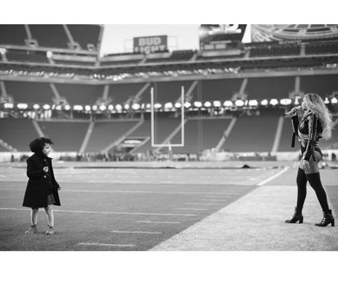 Fresh from her stellar set, Beyonce shared this precious snap of her and daughter Blue Ivy during rehearsals.