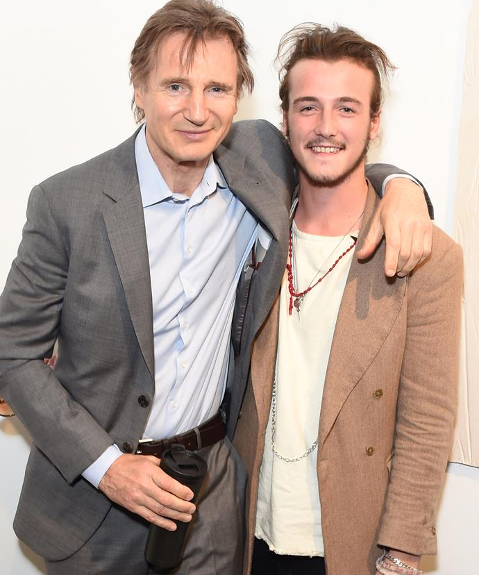Liam with his son Micheal, who now works as a gallery curator.
