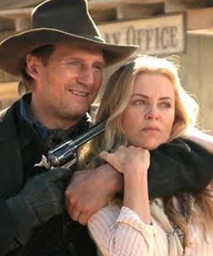 Charlize Theron and Liam Neeson in *A Million Ways to Die in the West*.