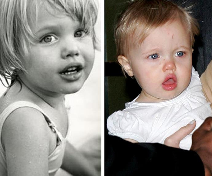 Shiloh Jolie-Pitt (R) has inherited Angelina's beautiful features (L). The duo look incredibly alike as kids.