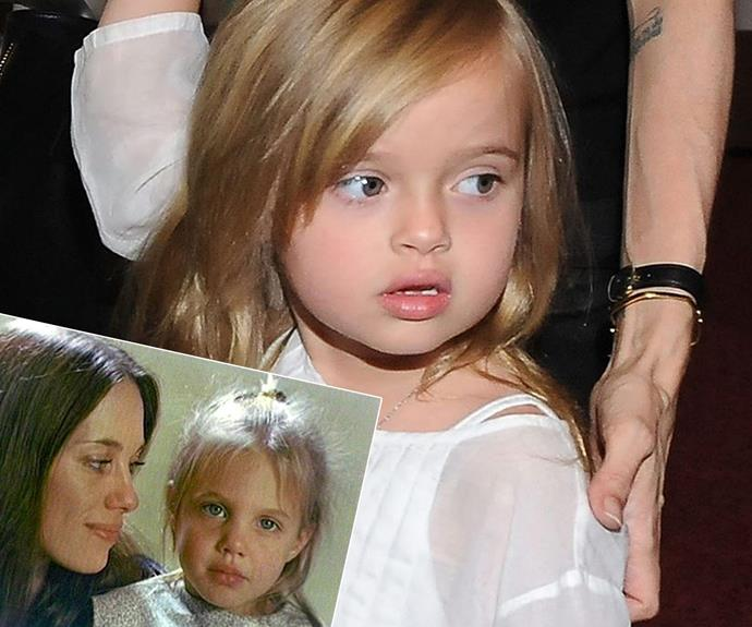 In fact... Genetics have dealt another Jolie-Pitt their famous mum's signature look with young Vivienne (main) also looking a hell of a lot like her mother (inset: pictured with her mother Marcheline Bertrand)