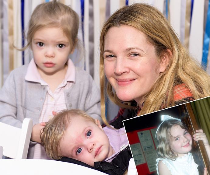 "Drew (inset: as a child) is mum to three-year-old Olive and one-year-old Olive. ""Oh my God, it's Olive,"" Drew quipped while seeing a young photo of herself. ""I'm freaking out. I feel like I'm seeing my daughter."""