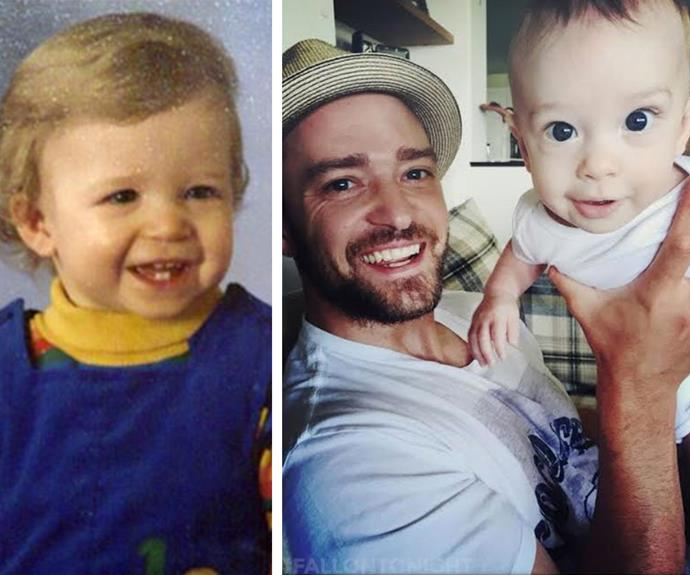 Silas (R) is definitely N'Sync with his famous dad, Justin Timberlake's (L) baby features.