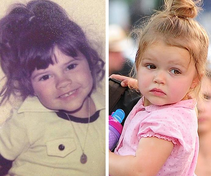 We're feeling the (girl) power with these great genetics! Harper Beckham (R]) looks just like her mummy Victoria when she was the same age (L).