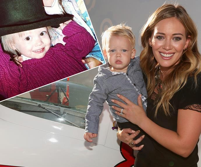 The apple doesn't fall far from the tree... Little Luca has the same chubby cheeks as Hilary Duff (left).
