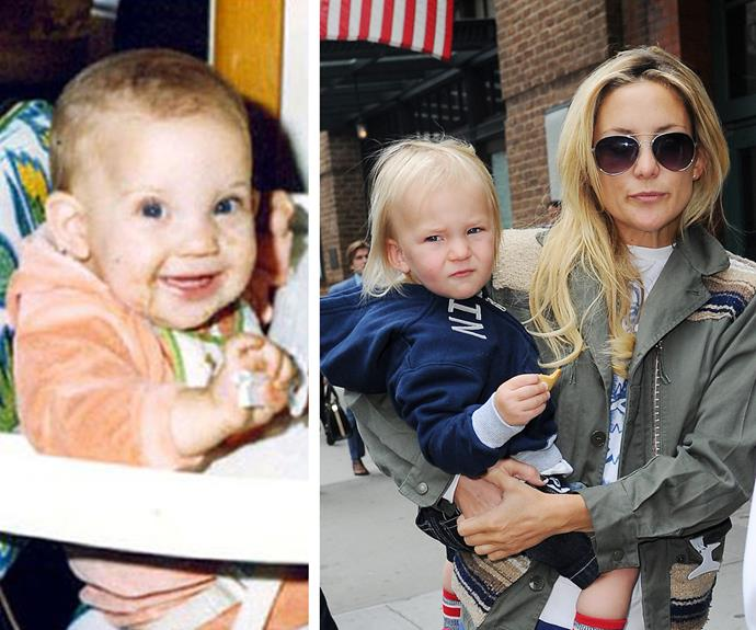Talk about being goofy and cute! Ryder Robinson, now 12, used to look just like his cool cat mum Kate Hudson when she was a little one (L).