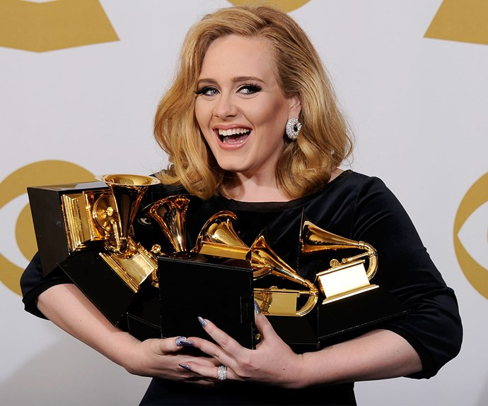 2012 will forever be the year Adele owned the Grammys! The star won so many gold statues she was constantly getting up from her chair to make acceptance speeches and by the end of the night she could barely hold her haul.