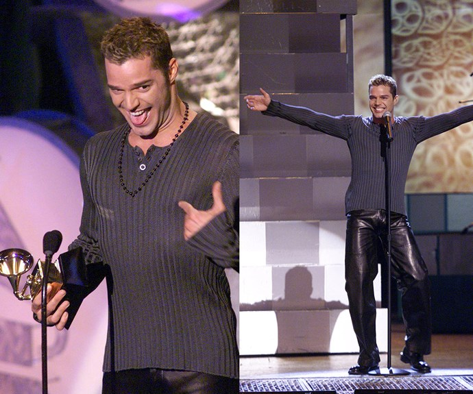 """Who, me?"" Ricky Martin looked rather shocked when he scored the Best Latin Pop Performance gong in 1999. And who could forget his energetic gyrating in leather pants as he performed his smash hit, *The Cup of Life*. Ahh, the memories."