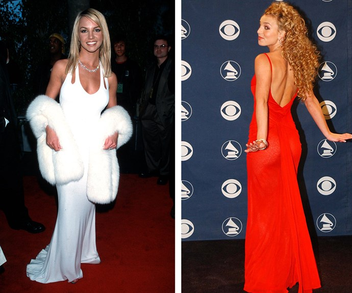 Vintage Britney! The pop star didn't win her first Grammy until 2005 but that didn't stop her from rocking some amazing frocks. (L-R) In 2000, the *Lucky* hitmaker smouldered in a sultry white number and in 2002 it was all about big hair and backless dresses.