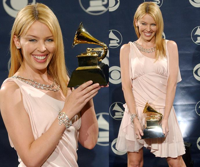 "The Aussie pop princess wins big! ""To actually be a recipient is incredibly special. I am thrilled and cannot wait to bring it home,"" [Kylie Minogue beamed](http://www.womansday.com.au/celebrity/australian-celebrities/kylie-minogue-talks-about-michael-hutchence-and-joshua-sasse-14326) after scoring her first Grammy for her hit song, *Come Into My World* in 2004."