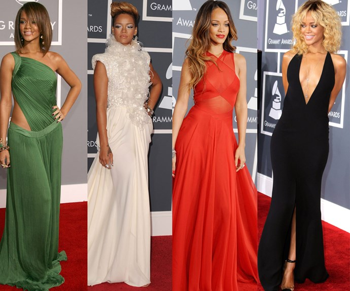 The evolution of Rihanna: The 27-year-old has grown up before us! Her first ever ceremony was in 2007 (far left, green dress).