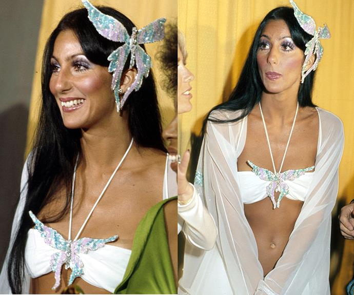 In a flutter! [Cher's dreamy butterfly ensemble](http://www.womansday.com.au/style-beauty/fashion/turning-back-time-and-looking-at-chers-most-iconic-moments-12621) from the 1974 awards are what fashion goals are made of.