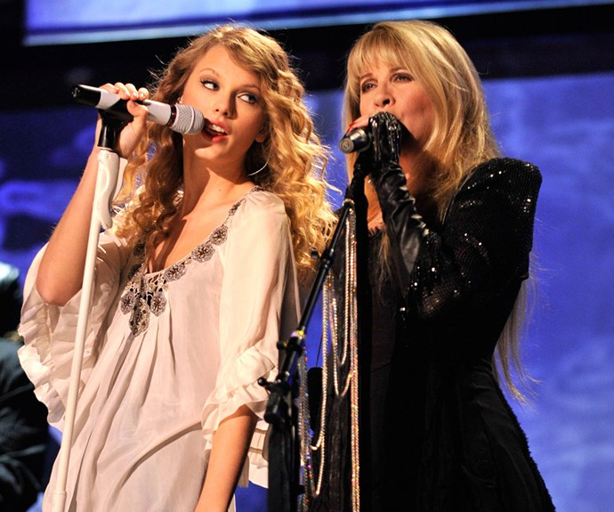 "Bringing down the house: ""It's a fairly tale and an honor to share the stage with Stevie Nicks,"" Taylor Swift said in 2010 after her killer set with the former Fleetwood Mac singer."