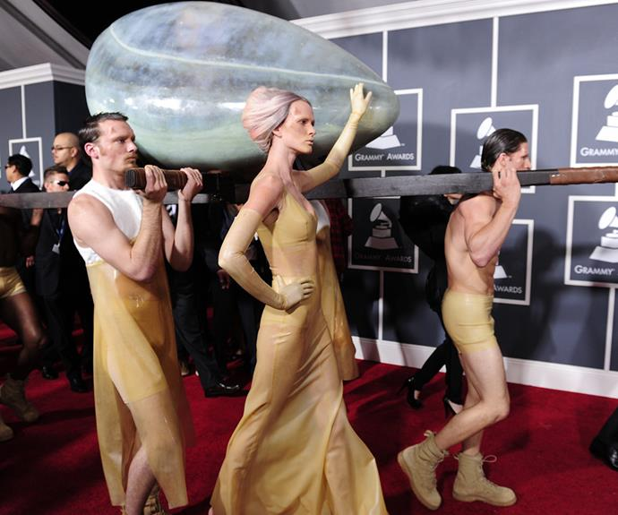 "She's known for pushing boundaries and in 2011, Lady Gaga outdid herself when she rocked up to the Grammy in an oversized egg. ""I was in it for three days. It was temperature controlled,"" she says of the bizarre stunt."