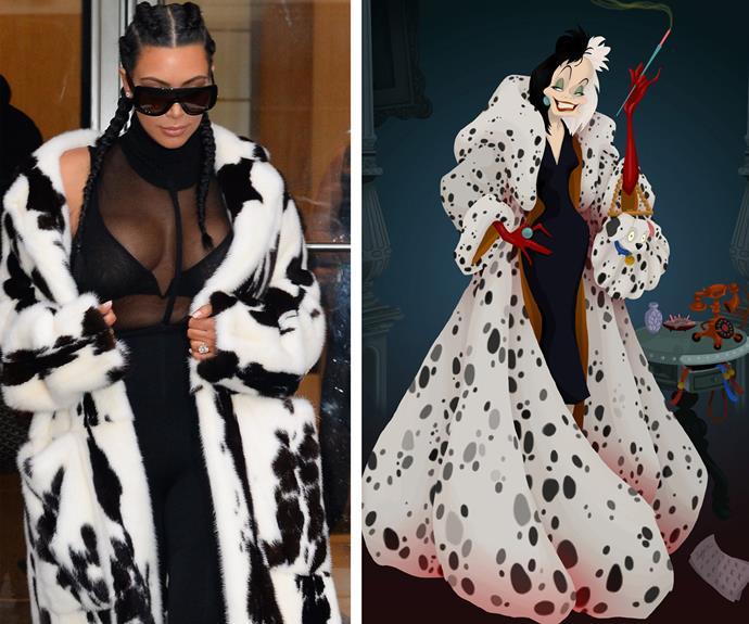 Spot the difference: the Kim Kardashian vs Cruella de Vil edition.