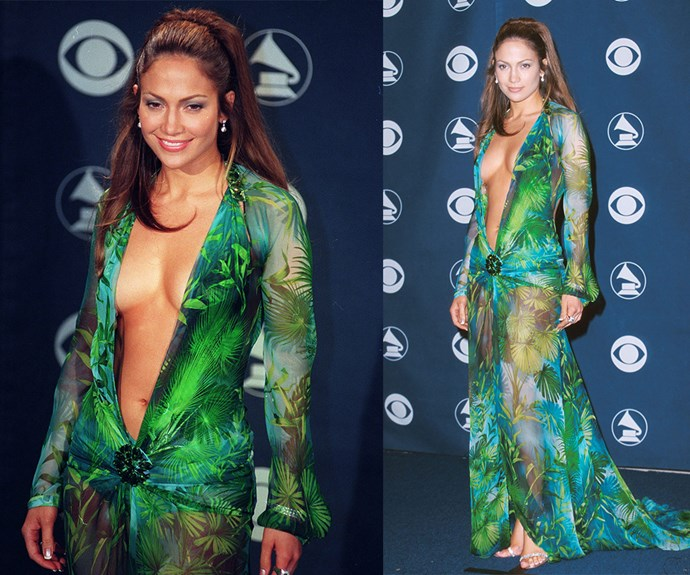 No Grammys wrap-up is complete [without a nod to Jennifer Lopez's jungle print Versace gown that she wore to the 2000 awards.](http://www.womansday.com.au/style-beauty/fashion/geri-halliwell-wore-jlos-grammys-dress-first-13152) JLo didn't just make a statement, her eye-catching garment became history in its own right.