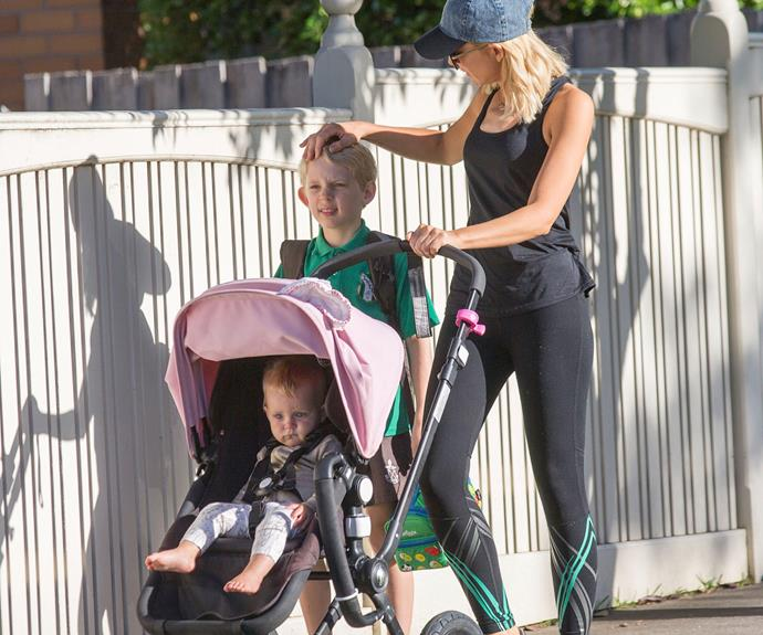 In February, Carrie looked every inch the doting mum as she set out for a walk with her two children in Melbourne.