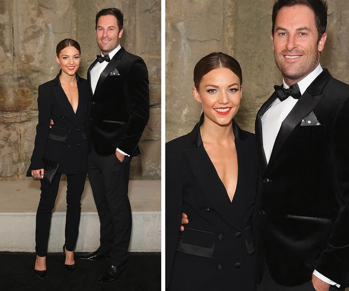 """Sam Frost and her then-man Sasha Mielczarek turned up at the Myer Autumn show at Barangaroo Reserve wearing coordinated outfits. With her plunging blazer and fitted black pants, it's no wonder Sasha loved it! """"Lucky I didn't hold onto her for too long...so hot!"""" he wrote on Instagram."""