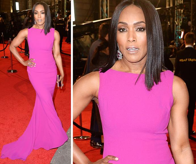 That's one hot pink lady! 57-year-old Angela Bassett brought a bright pop of colour to the event.