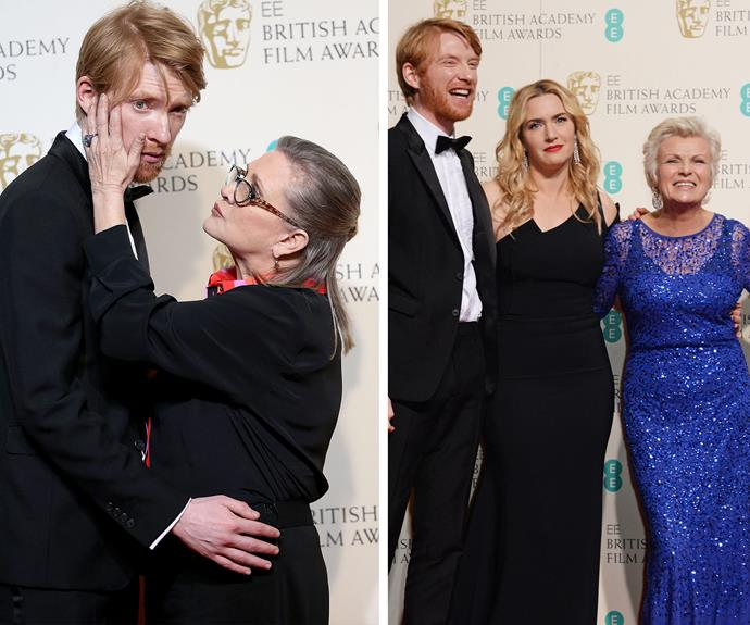 Carrie Fisher shares a tender moment with Domhnall Gleeson... and the redhead actor seemed to have a knack for making all the Hollywood gals smile! Julie Walters can't help but giggle while Kate Winslet is a little confused by the *Brooklyn* cast.