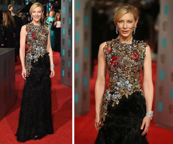 BAFTA nominee and red carpet enchantress Cate Blanchett dazzled in this Alexander McQueen number.