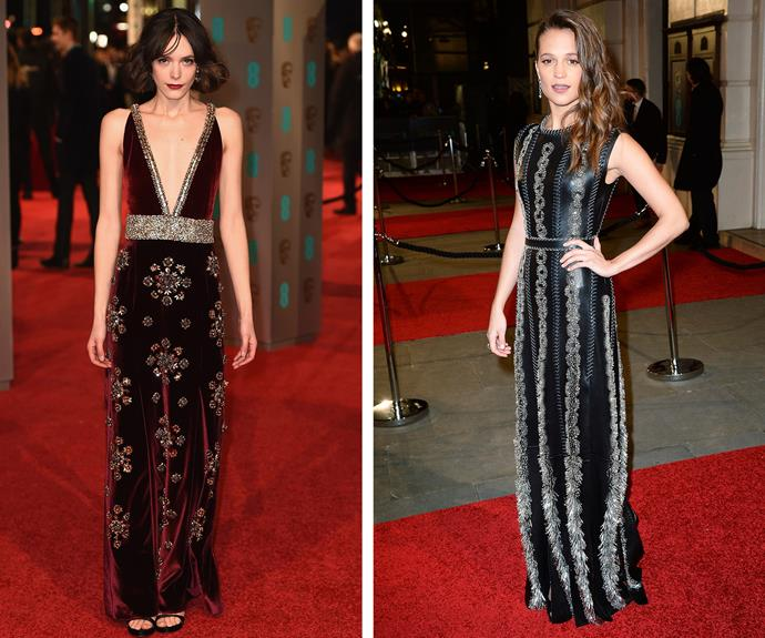 Embellishment was the flavour of the night. *Nymphomaniac* actress, Stacy Martin vamped  up the event in her wine coloured gown, while Alicia Vikander (R) shook things up in her bejeweled Louis Vuitton number.