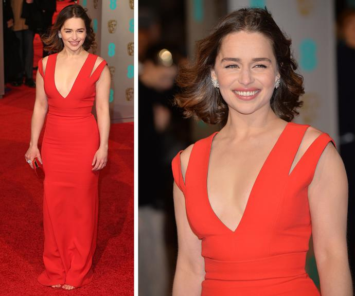 Emilia Clarke was red hot in a Victoria Beckham design.