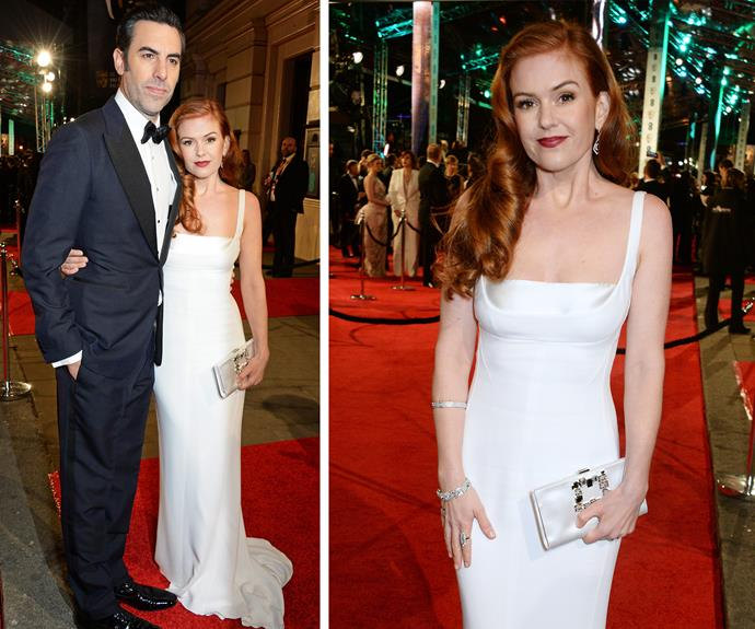 Summer Bay goes to Tinseltown! Isla Fisher joined her hubby, Sacha Baron Cohen. The redhead beauty channeled Jessica Rabbit in her Stella McCartney dress.