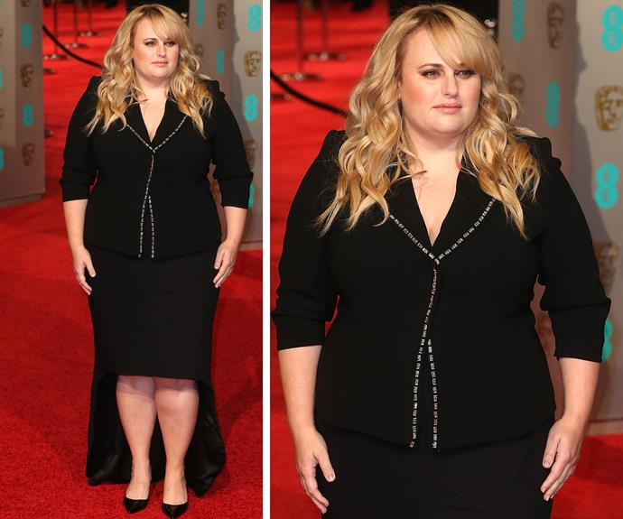 Turning heads, Rebel Wilson opted for an asymmetric skirt and blazer instead of a dress.