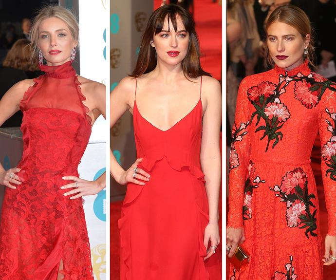 In fact, red rose to the occasion. Annabelle Wallis (L) looked chic in an Oscar de la Renta number. Dakota Johnson (M) in dazzled in Dior, while Dree Hemingway was a model beauty.