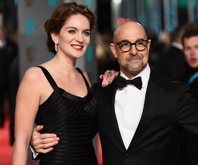 Stanley Tucci holds onto his wife, Felicity Blunt.