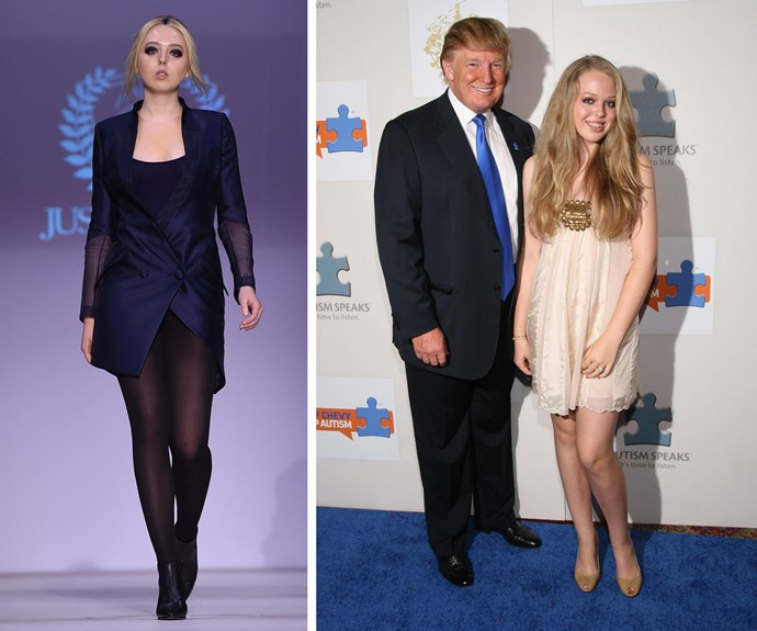 Donald Trump's daughter, Tiffany Trump, has made her runway debut during New York Fashion Week. The 22-year-old student helped out her good friend, Just Drew designer Andrew Warren, by rocking a navy double-breasted blazer and tights.
